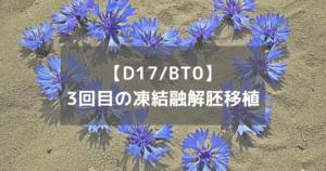 【D17/BT0】3回目の凍結融解胚移植